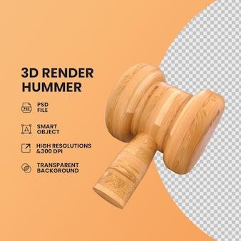 Концепция дизайна 3d hammer в текстуре дерева