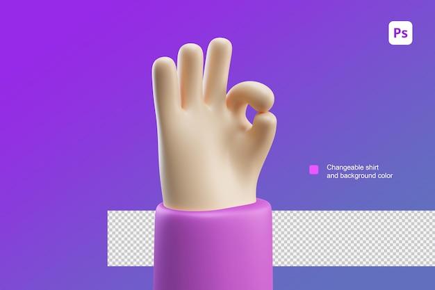 3d иллюстрации шаржа руки для хорошего ока и хорошего жеста работы
