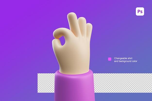 좋은 오케와 좋은 일 제스처에 대한 3d 손 만화 그림