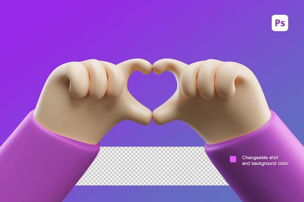 3d 손 만화 그림 두 손으로 사랑이나 심장 제스처를 확인