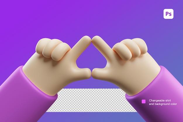 두 손으로 삼각형 제스처를 만드는 3d 손 만화 그림