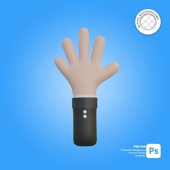 3d 손 제스처 다섯 손가락 왼손