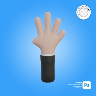 3d hand gesture four fingers in front