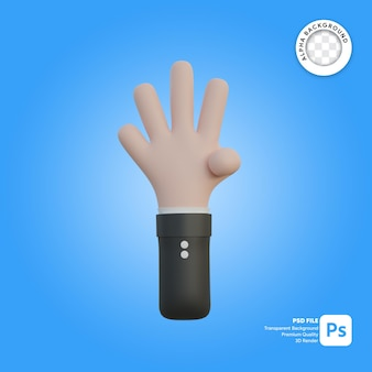 3차원, 손, 몸짓, 4개의 손가락, 에서, 뒤에