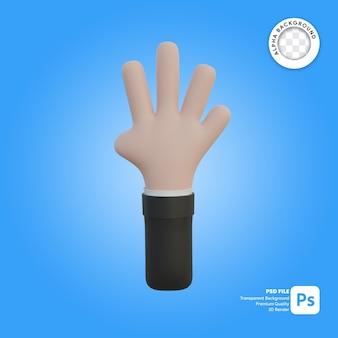3차원, 손, 몸짓, 4개의 손가락, 앞에