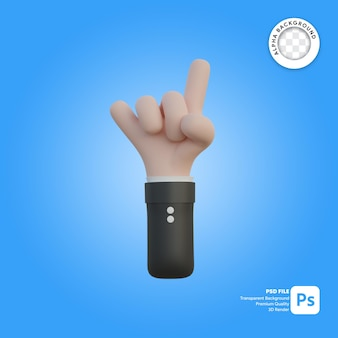 3d hand gesture horn in back side