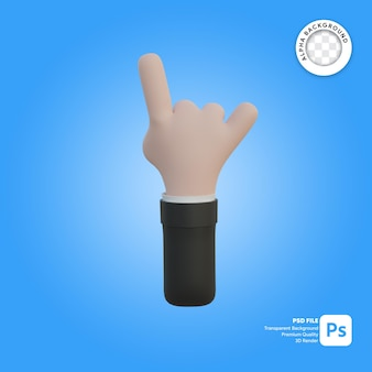 3d hand gesture horn in front side