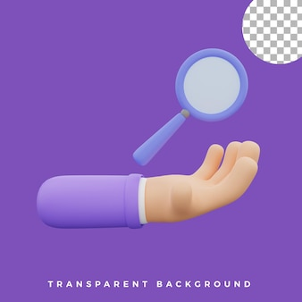 3d hand gesture illustration magnifying glass icon isolated assets high quality