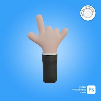 3d hand gesture metal rock in front side