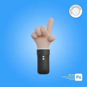 3차원, 손, 몸짓, 한 손가락, 에서, 뒤에