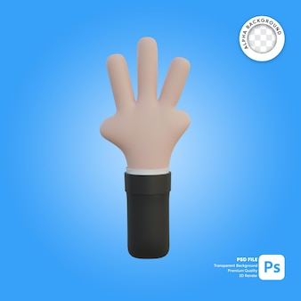 3d hand gesture three fingers in front