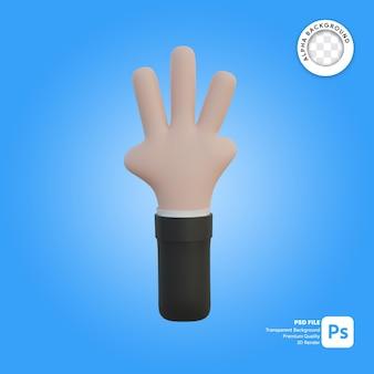 3차원, 손, 몸짓, 3개의 손가락, 앞에