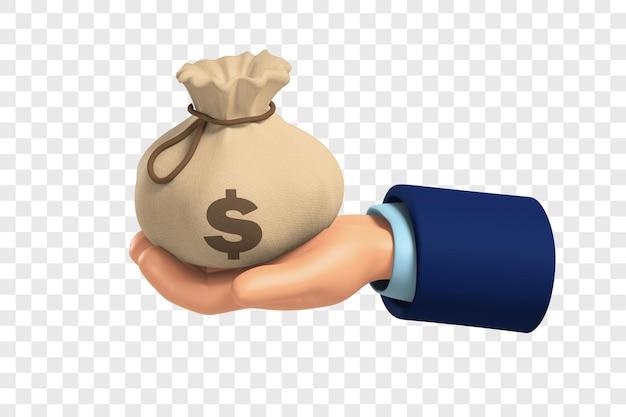 3d рука держит мешок денег с символом доллара, изолированным с настройкой цвета