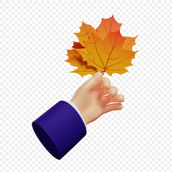 3d hand holding autumn maple leaves isolated illustration 3d rendering
