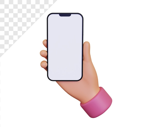スマートフォンのイラストを保持している3d手