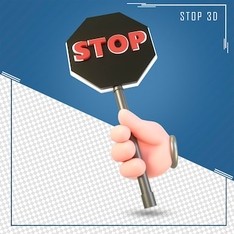 3d hand holding of the stop sign