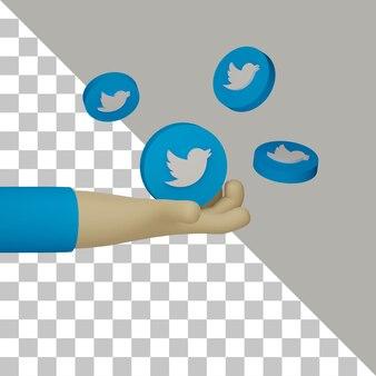 3d рука держит логотип twitter для иллюстрации маркетинговых целей