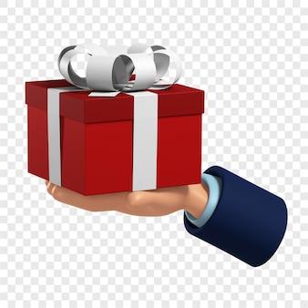 3d手は、弓の孤立したイラストと白いリボンで包まれた赤いボックスに贈り物を保持します