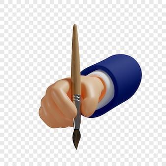 3dハンドは絵筆を持っていますモバイルアプリなどのウェブサイトデザインを作成する創造的なプロセス