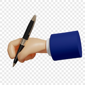 3d рука держит ручку, чтобы делать заметки, чтобы записать изолированные иллюстрации 3d-рендеринг