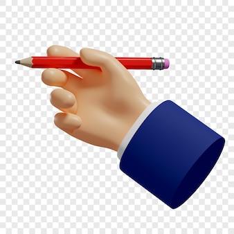 3d рука держит красный карандаш, чтобы делать заметки зарисовки изолированные иллюстрации 3d-рендеринг