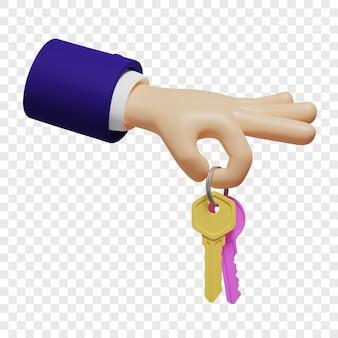 3dハンドは、ピンクと黄色の2つのキーが付いた指輪を持っており、集合住宅や車を購入またはレンタルしています。