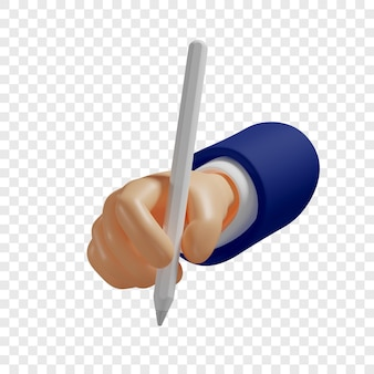 3d hand holds a pencil or digital pen stylus for tablet to make sketches notes isolated