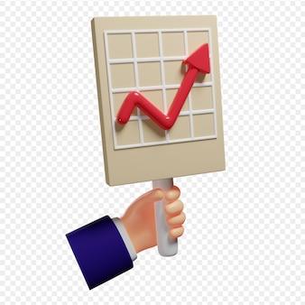 3dハンドは、スライド上のチャート分析とマーケティングチャートでプレゼンテーションを保持します