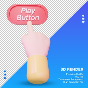 3d кнопка воспроизведения руки рендеринга вид спереди
