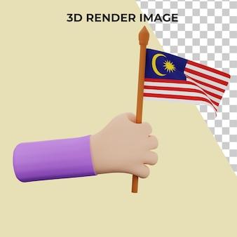 말레이시아 국경일 개념 프리미엄 psd가 있는 3d 손 렌더링