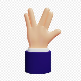 3d hand shows gesture vulcan salute hello gesture isolated 3d illustration