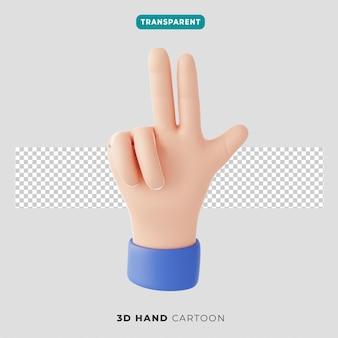 3d 손 세 손가락과 엄지손가락 제스처 아이콘