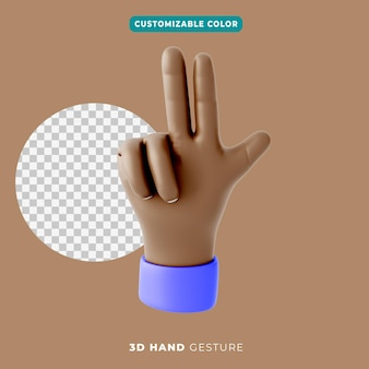 3d hand three fingers and thumbs up gesture icon