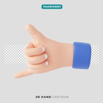 3d 손 엄지손가락과 작은 손가락 제스처 아이콘