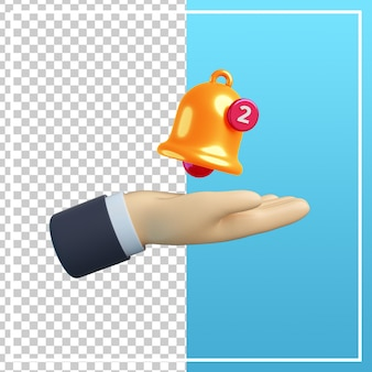 3d hand with bell notification icon
