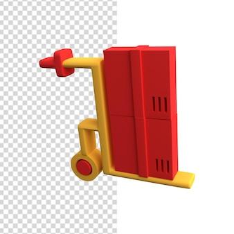 Значок 3d тележка. 3d иллюстрации ручной тележки. значок 3d логистики.
