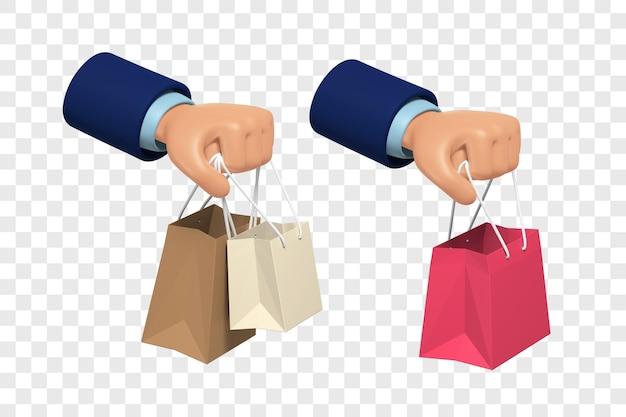 3d руки держат одну и две хозяйственные сумки, изолированных иллюстрация с настройкой цвета