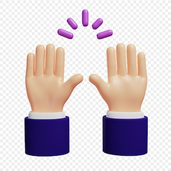 3d hands raised in celebration success celebration isolated 3d illustration