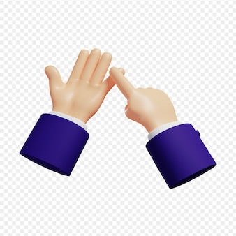 3d hands show counting on fingers explanation on fingers isolated 3d illustration