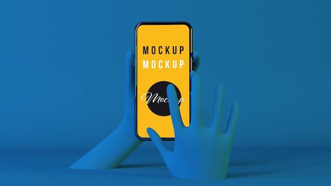 3d hands using smartphone mockup