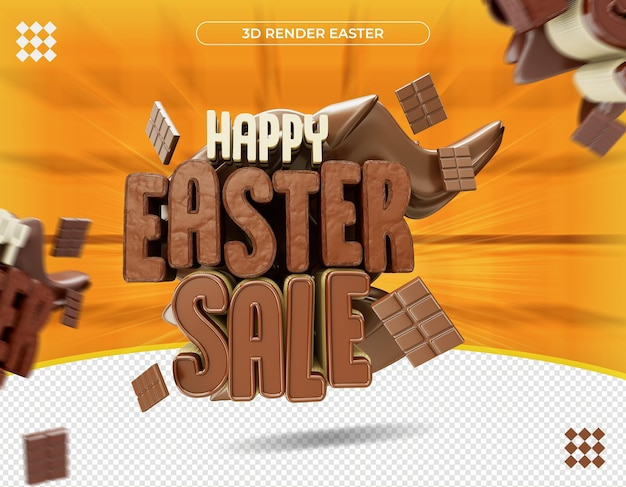 3d happy easter label in realistic rendering
