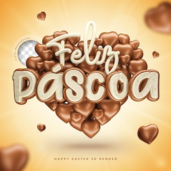 3d happy easter symbol in brazilian realistic in heart shape with chocolate