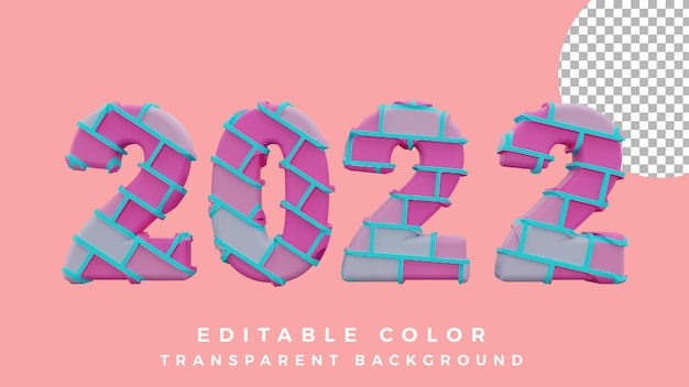 3d happy new year 2022 abstract brick concept isolated high quality