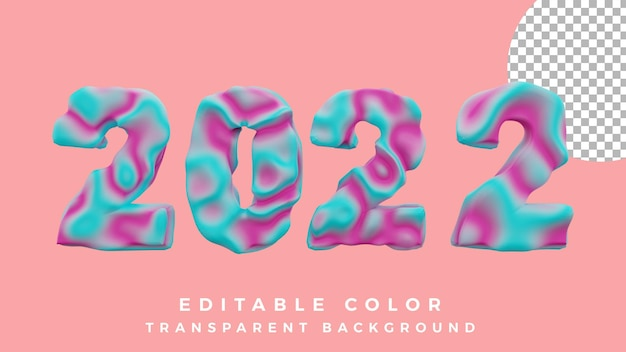3d happy new year 2022 abstract liquid concept high quality