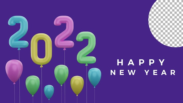 3d happy new year 2022 colorful balloon background concept high quality