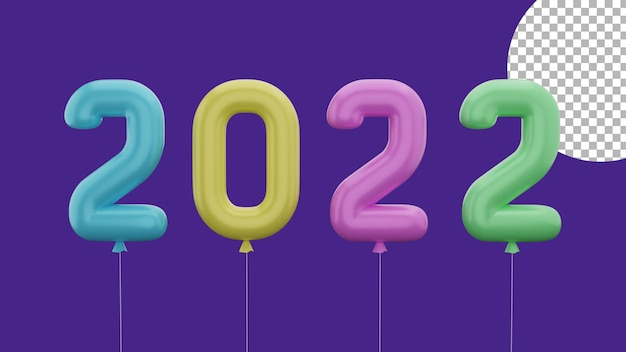 3d happy new year 2022 colorful balloon front concept high quality