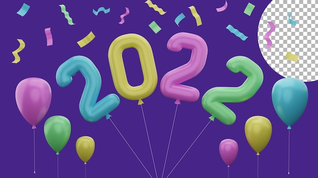 3d happy new year 2022 colorful balloon party paper confetti concept high quality