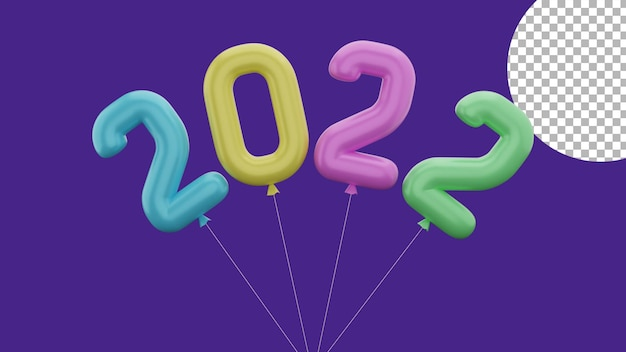 3d happy new year 2022 colorful balloon rotation concept high quality