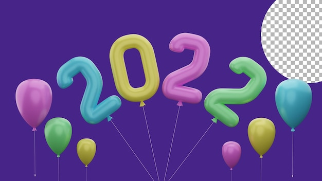 3d happy new year 2022 colorful flying balloon concept high quality