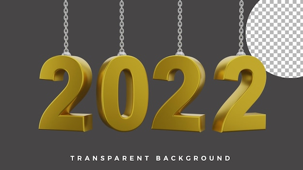 3d happy new year 2022 elegant luxury gold chain equal rotation concept high quality
